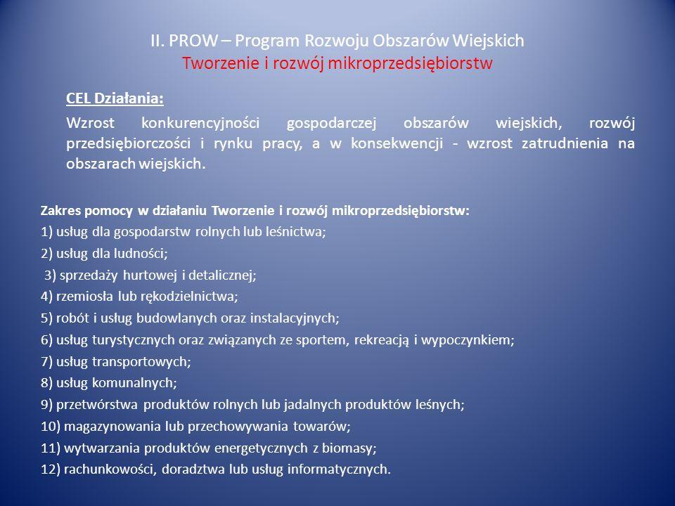 II. PROW – Program Rozwoju Obszarów Wiejskich Tworzenie i rozwój mikroprzedsiębiorstw