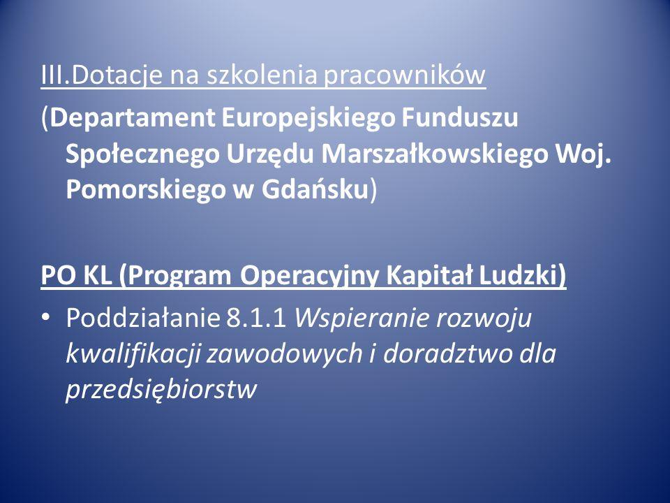 III.Dotacje na szkolenia pracowników