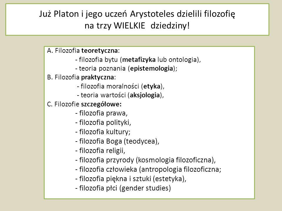 Już Platon i jego uczeń Arystoteles dzielili filozofię na trzy WIELKIE dziedziny!