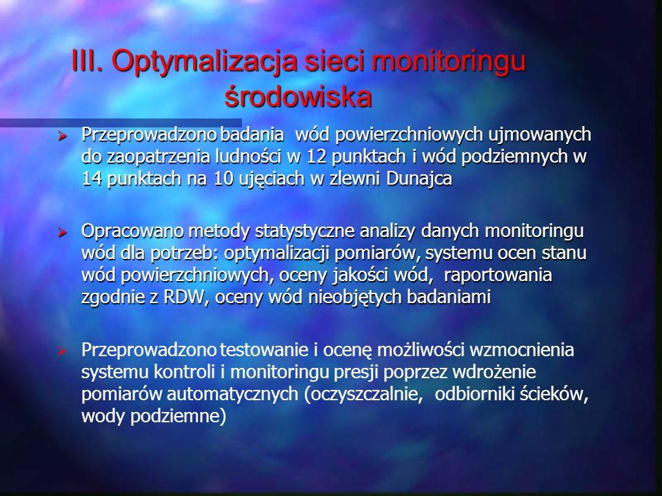 III. Optymalizacja sieci monitoringu środowiska