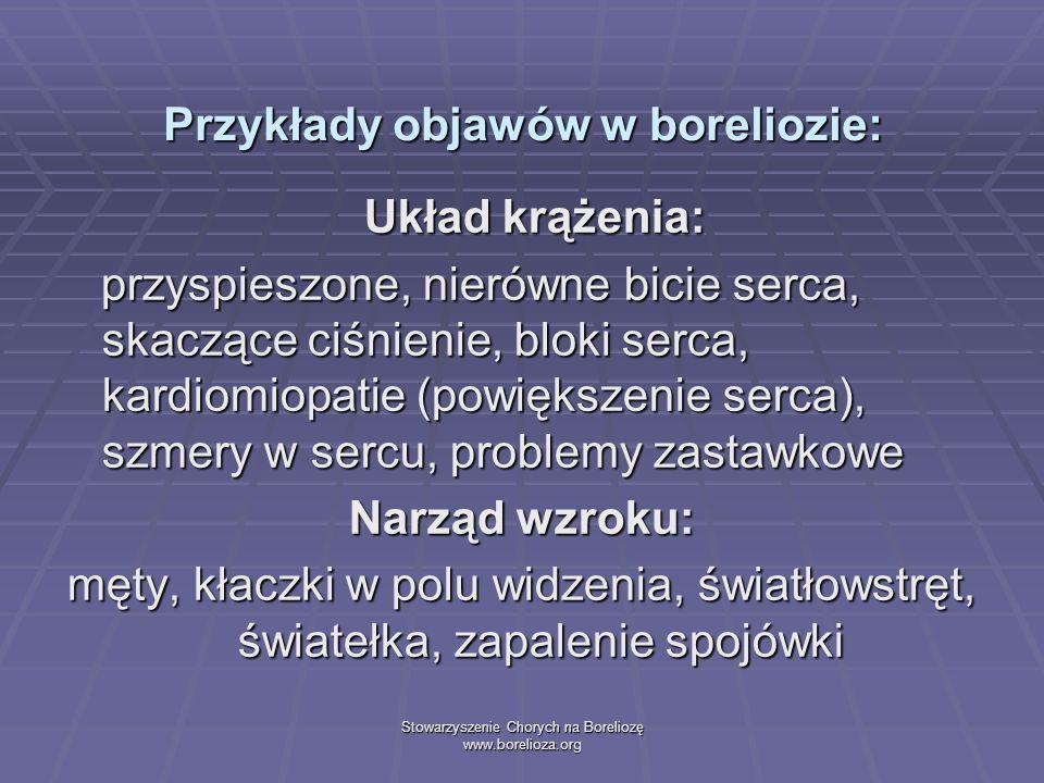 Przykłady objawów w boreliozie: