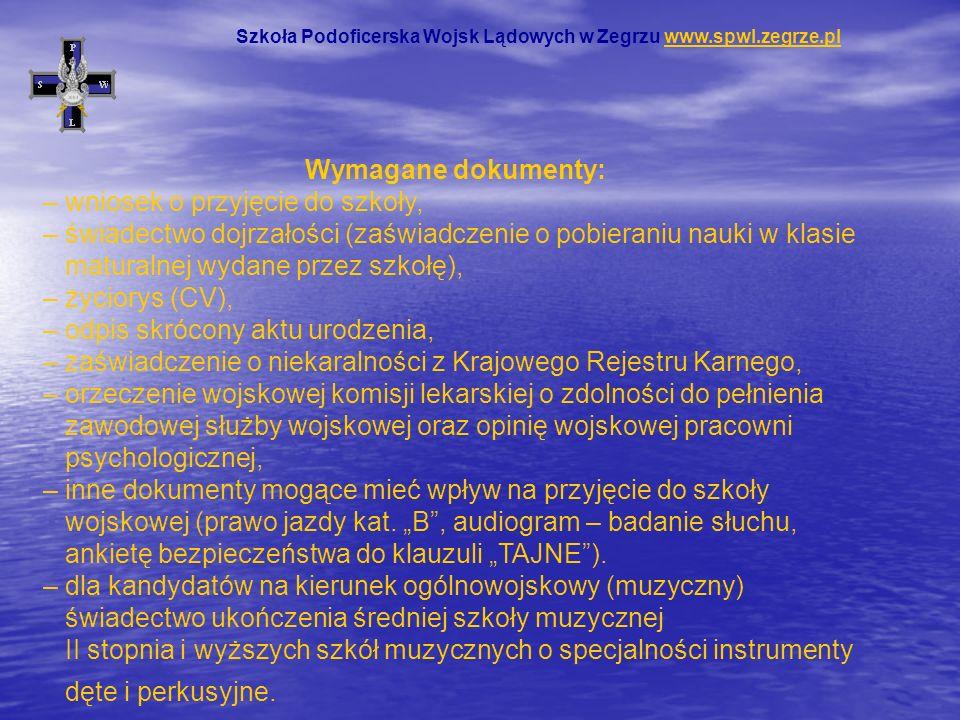 Szkoła Podoficerska Wojsk Lądowych w Zegrzu www.spwl.zegrze.pl
