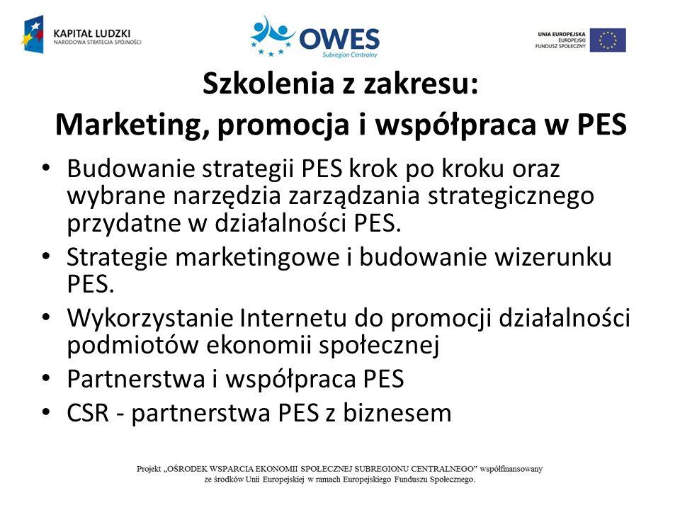 Szkolenia z zakresu: Marketing, promocja i współpraca w PES