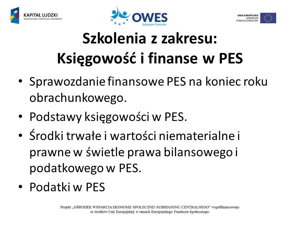 Szkolenia z zakresu: Księgowość i finanse w PES