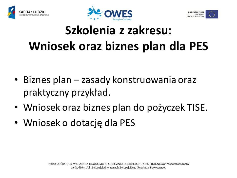 Szkolenia z zakresu: Wniosek oraz biznes plan dla PES