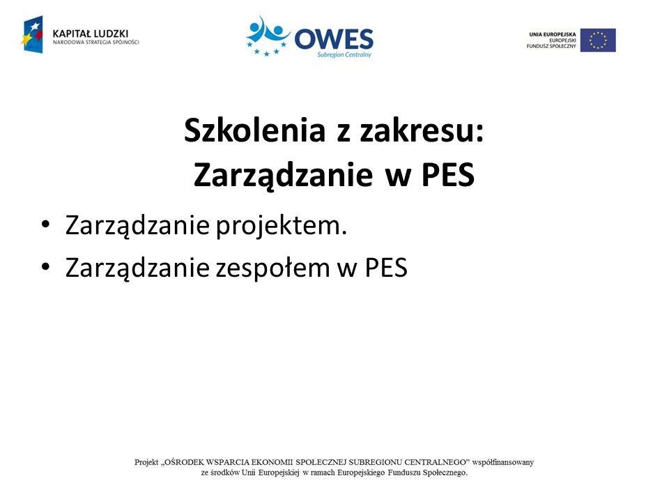 Szkolenia z zakresu: Zarządzanie w PES