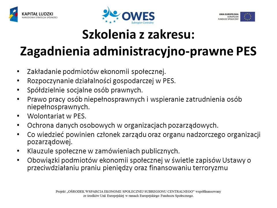 Szkolenia z zakresu: Zagadnienia administracyjno-prawne PES