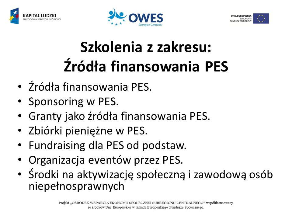 Szkolenia z zakresu: Źródła finansowania PES