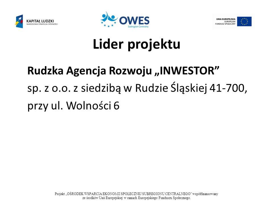 """Lider projektuRudzka Agencja Rozwoju """"INWESTOR sp. z o.o. z siedzibą w Rudzie Śląskiej 41-700, przy ul. Wolności 6"""