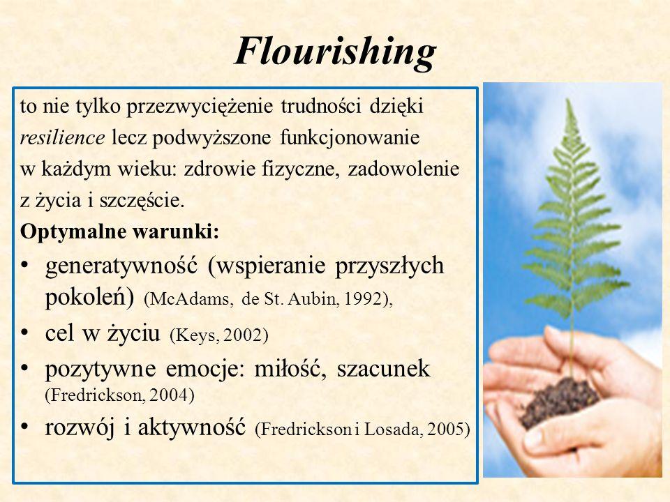 Flourishingto nie tylko przezwyciężenie trudności dzięki. resilience lecz podwyższone funkcjonowanie.