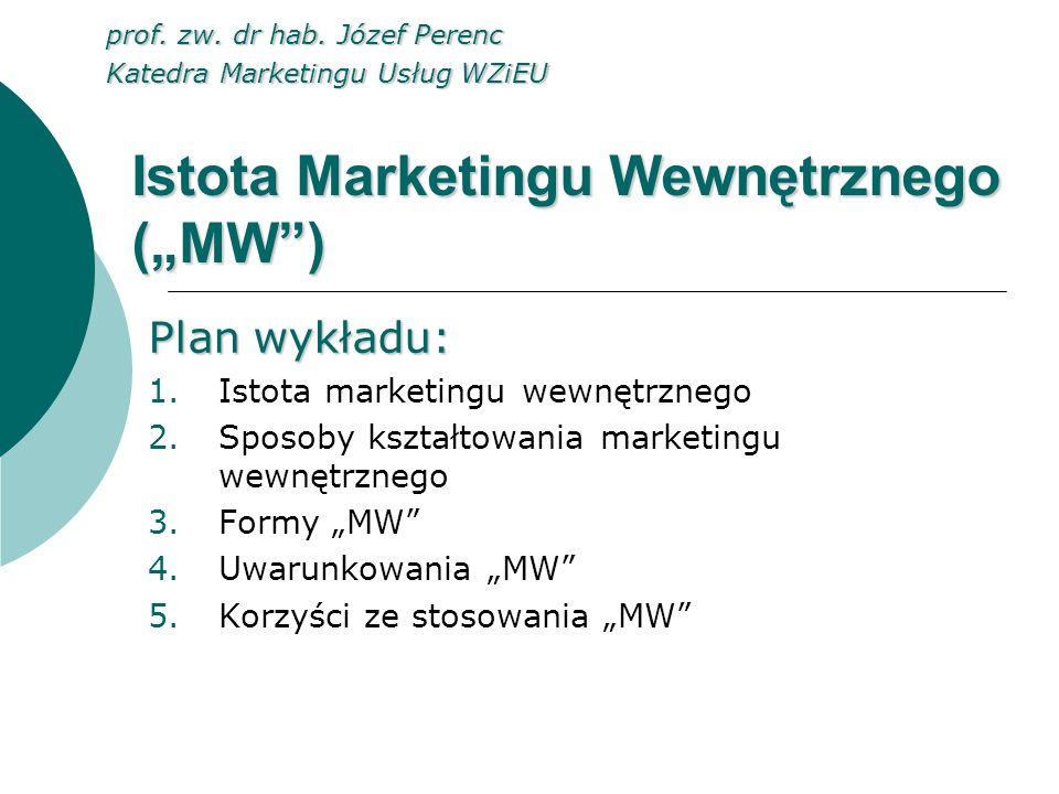 """Istota Marketingu Wewnętrznego (""""MW )"""
