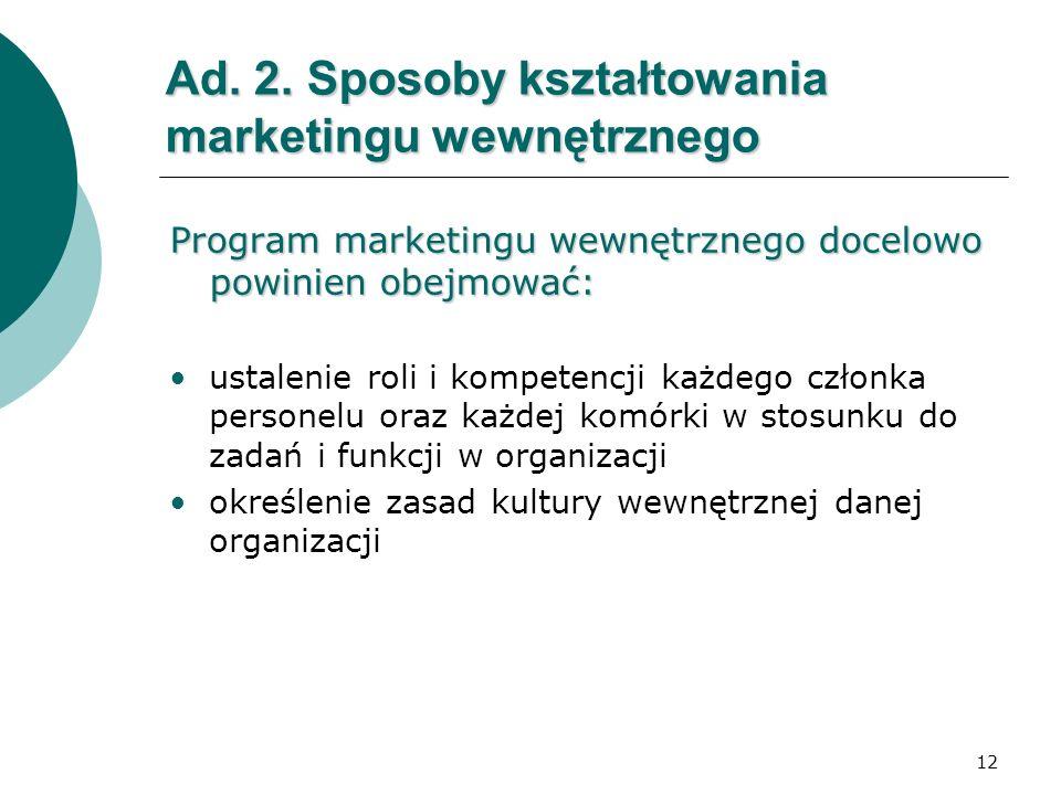 Ad. 2. Sposoby kształtowania marketingu wewnętrznego