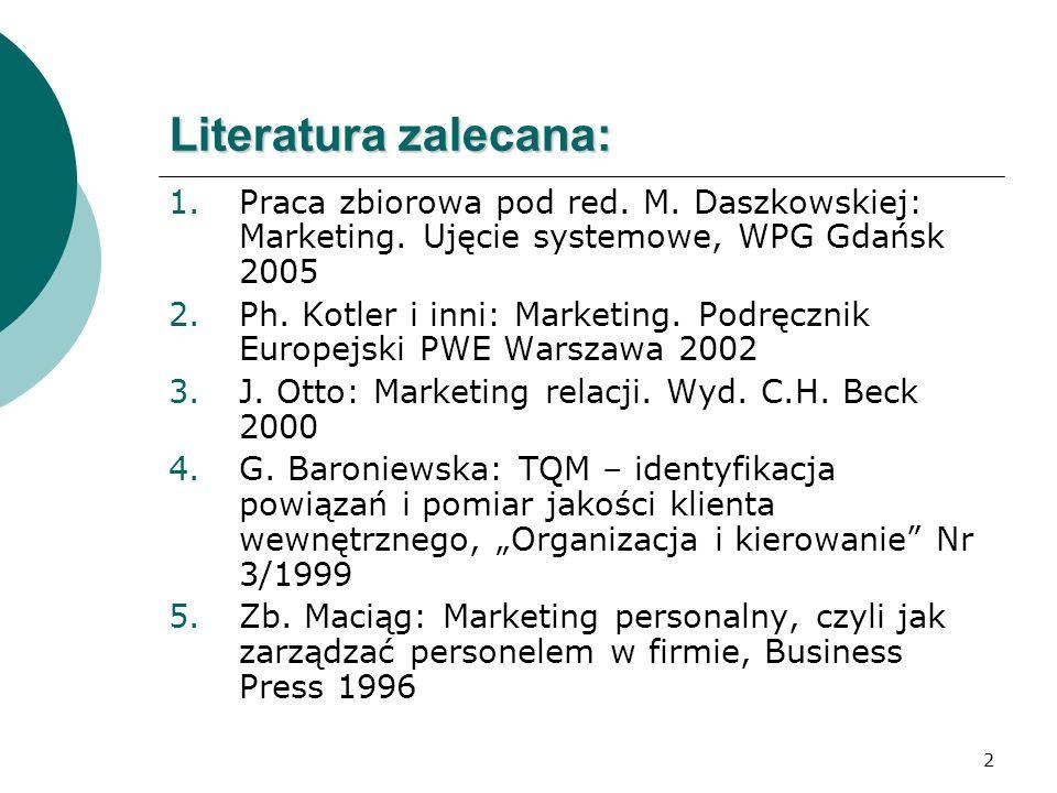 Literatura zalecana: Praca zbiorowa pod red. M. Daszkowskiej: Marketing. Ujęcie systemowe, WPG Gdańsk 2005.