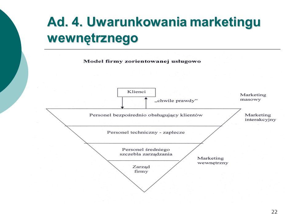 Ad. 4. Uwarunkowania marketingu wewnętrznego