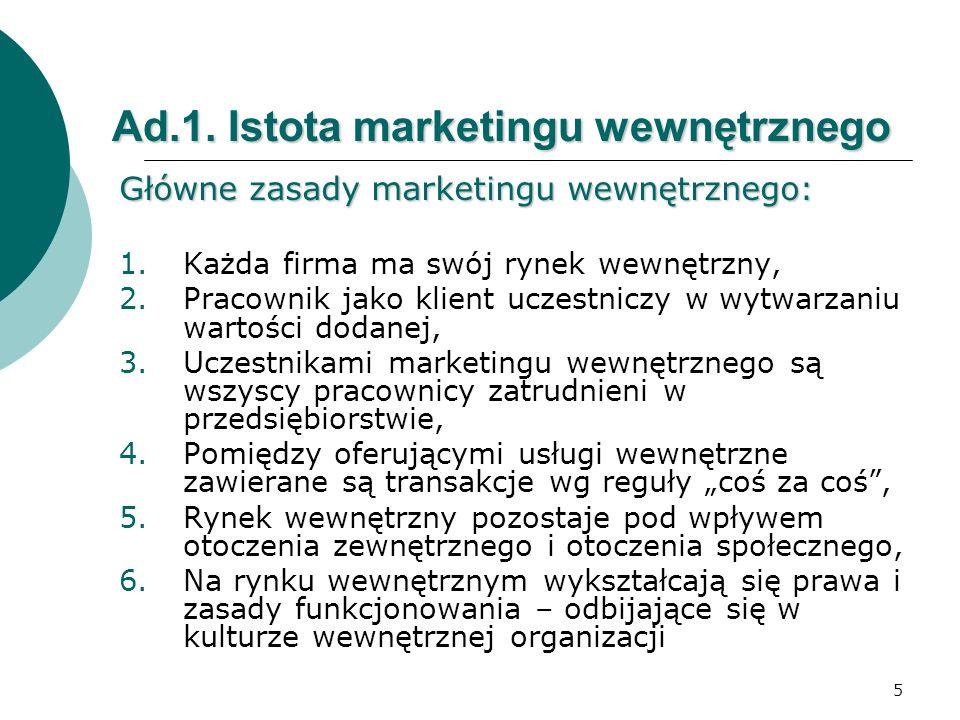 Ad.1. Istota marketingu wewnętrznego