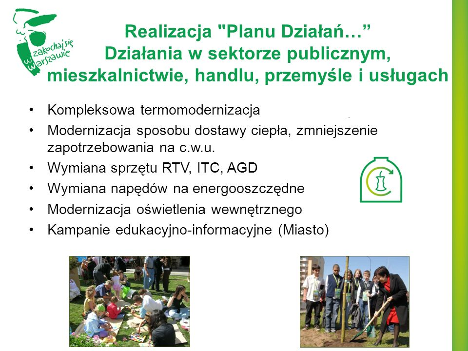 Realizacja Planu Działań… Działania w sektorze publicznym, mieszkalnictwie, handlu, przemyśle i usługach
