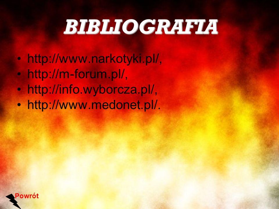 BIBLIOGRAFIA http://www.narkotyki.pl/, http://m-forum.pl/,