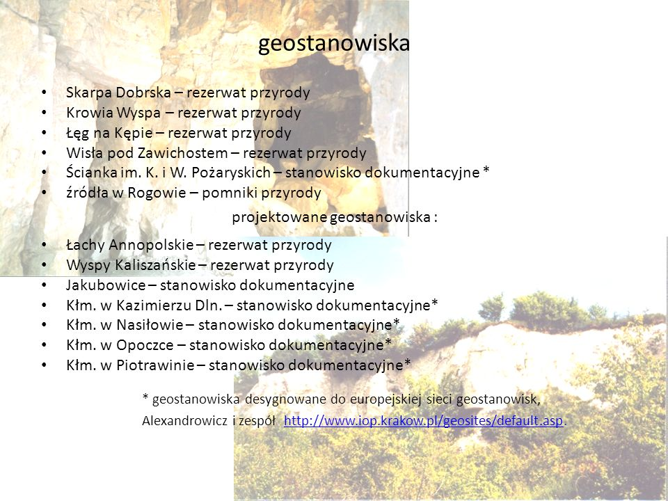 projektowane geostanowiska :