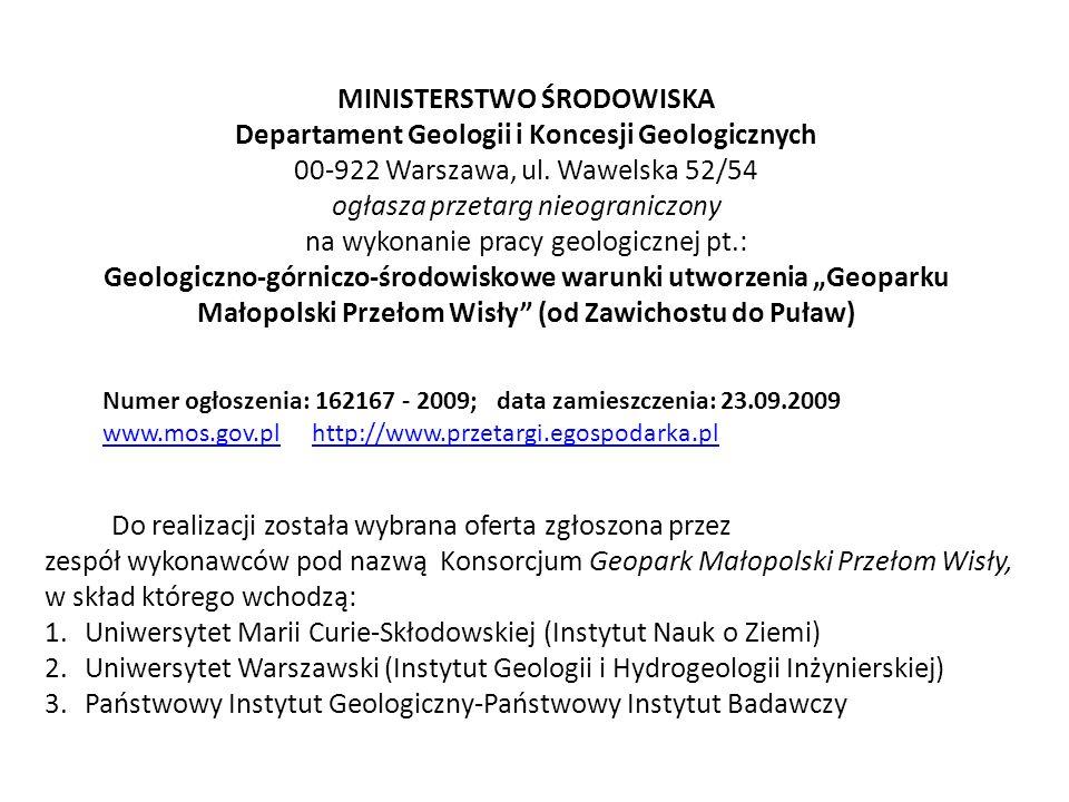 MINISTERSTWO ŚRODOWISKA Departament Geologii i Koncesji Geologicznych