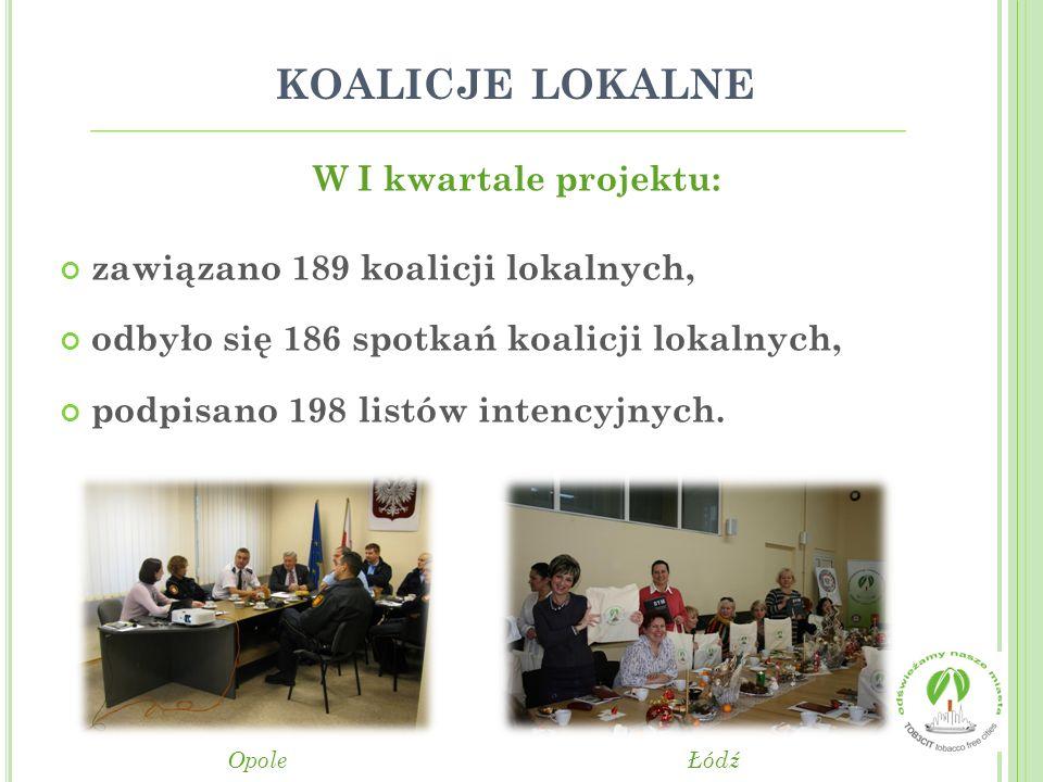 koalicje lokalne W I kwartale projektu: