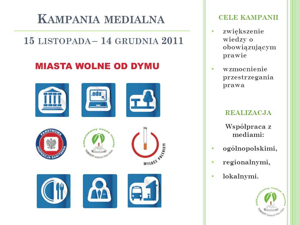 Kampania medialna 15 listopada – 14 grudnia 2011 CELE KAMPANII