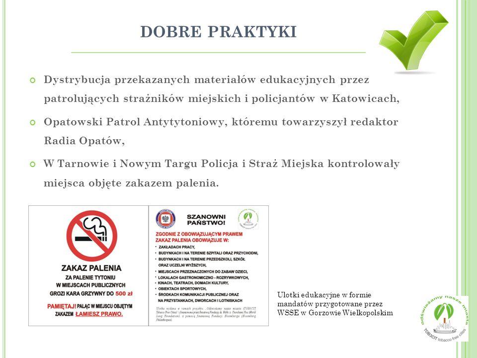 dobre praktyki Dystrybucja przekazanych materiałów edukacyjnych przez patrolujących strażników miejskich i policjantów w Katowicach,