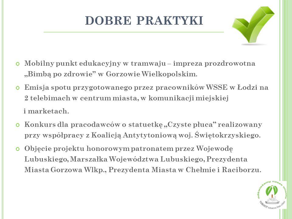 """dobre praktyki Mobilny punkt edukacyjny w tramwaju – impreza prozdrowotna """"Bimbą po zdrowie w Gorzowie Wielkopolskim."""