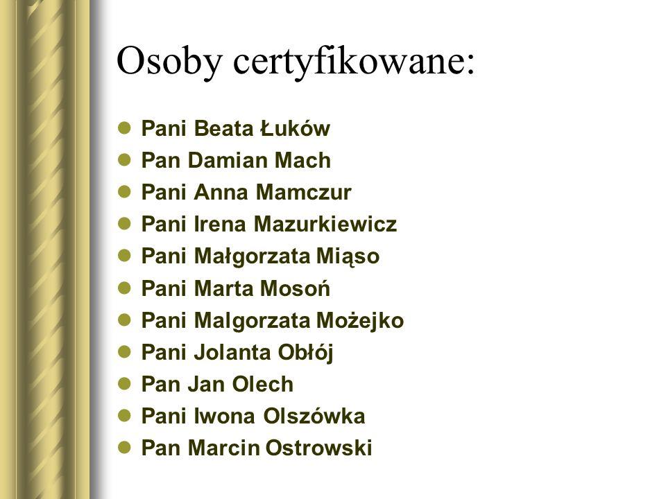 Osoby certyfikowane: Pani Beata Łuków Pan Damian Mach