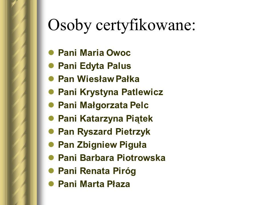 Osoby certyfikowane: Pani Maria Owoc Pani Edyta Palus