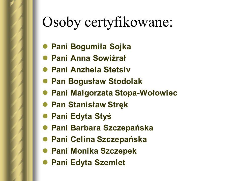 Osoby certyfikowane: Pani Bogumiła Sojka Pani Anna Sowiźrał