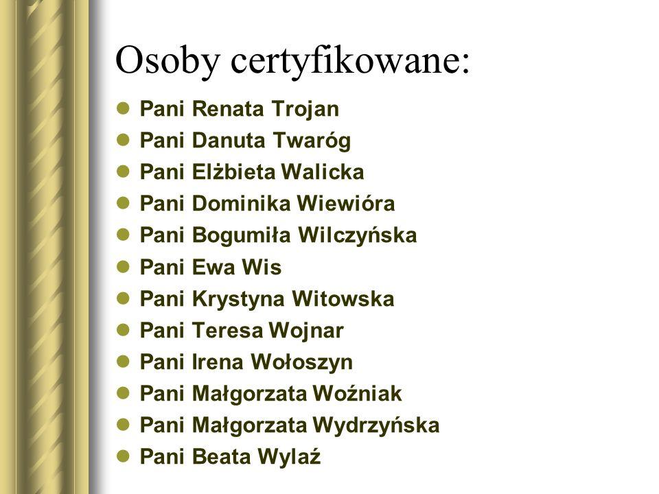 Osoby certyfikowane: Pani Renata Trojan Pani Danuta Twaróg