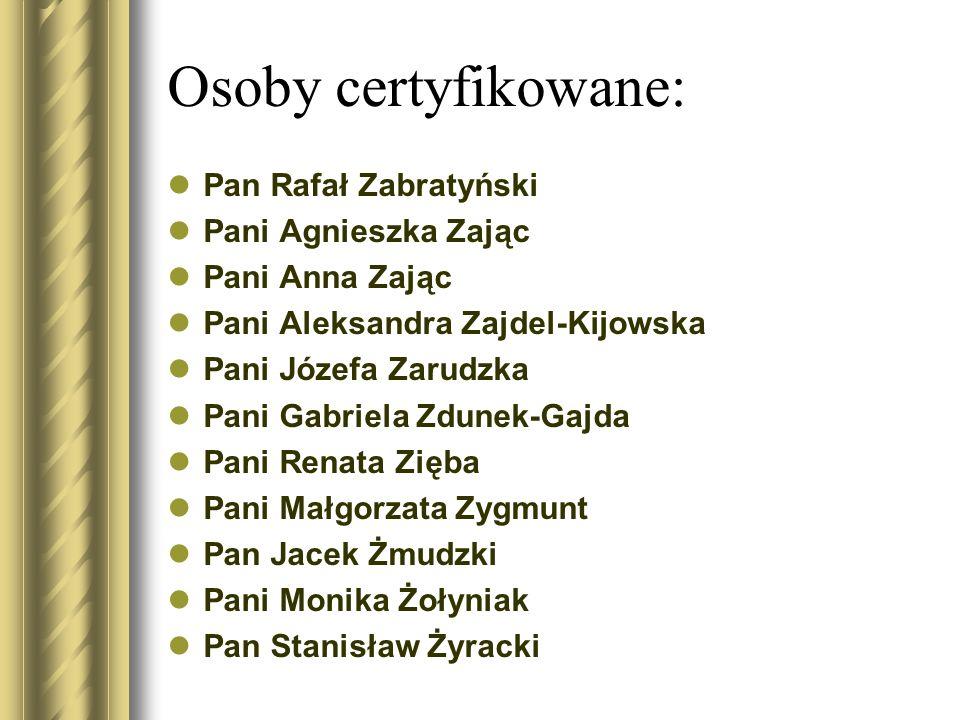 Osoby certyfikowane: Pan Rafał Zabratyński Pani Agnieszka Zając