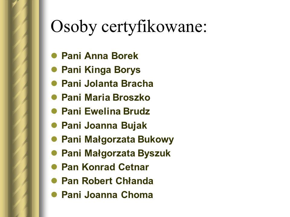 Osoby certyfikowane: Pani Anna Borek Pani Kinga Borys