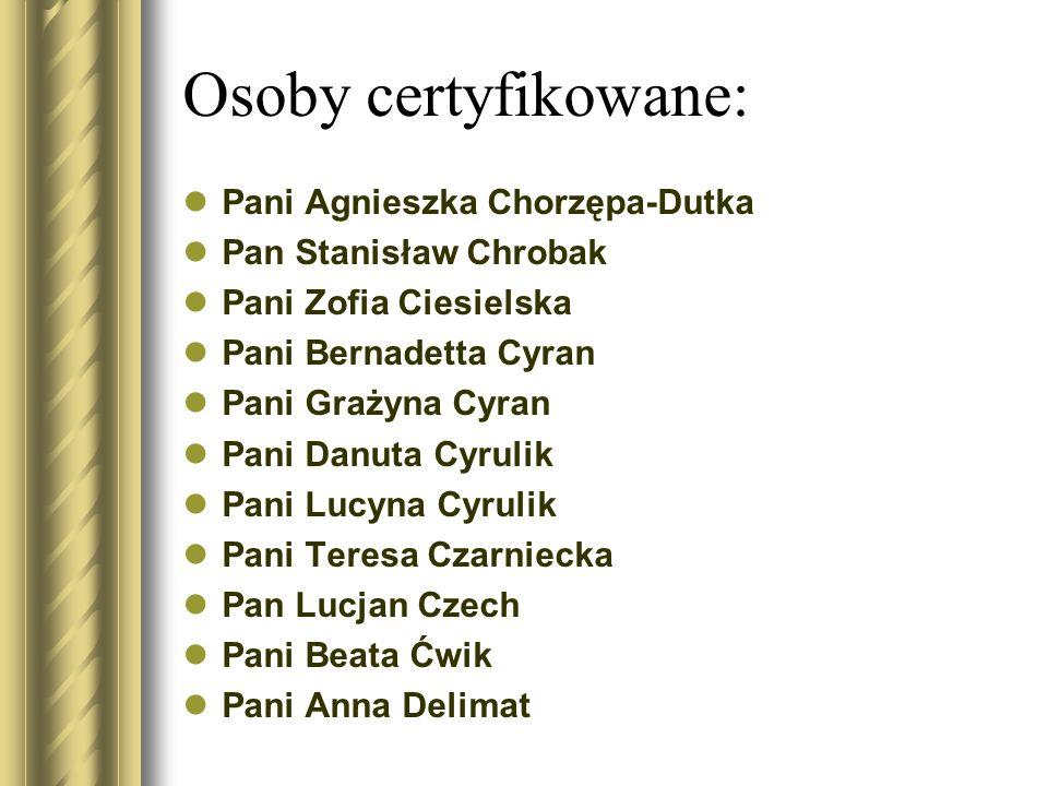Osoby certyfikowane: Pani Agnieszka Chorzępa-Dutka