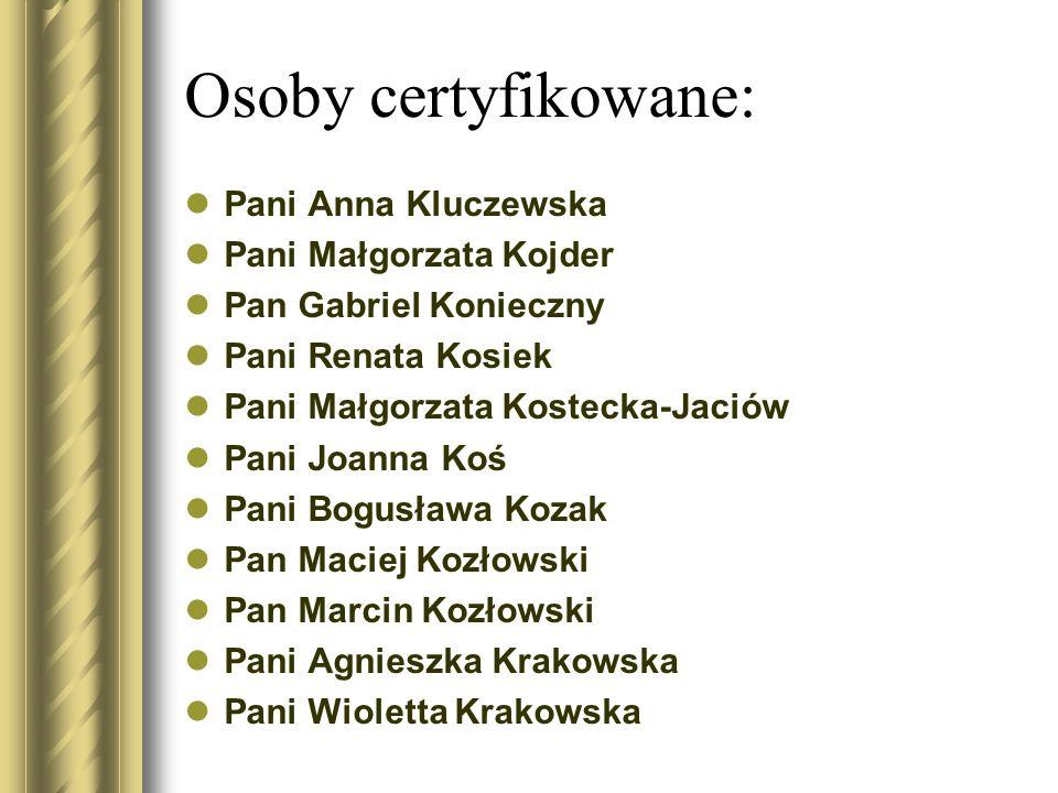 Osoby certyfikowane: Pani Anna Kluczewska Pani Małgorzata Kojder