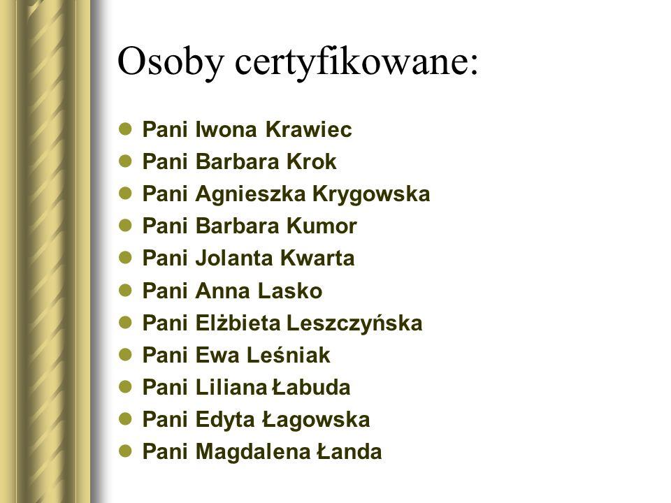 Osoby certyfikowane: Pani Iwona Krawiec Pani Barbara Krok