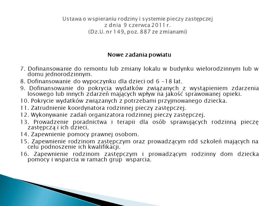 Ustawa o wspieraniu rodziny i systemie pieczy zastępczej z dnia 9 czerwca 2011 r. (Dz.U. nr 149, poz. 887 ze zmianami)