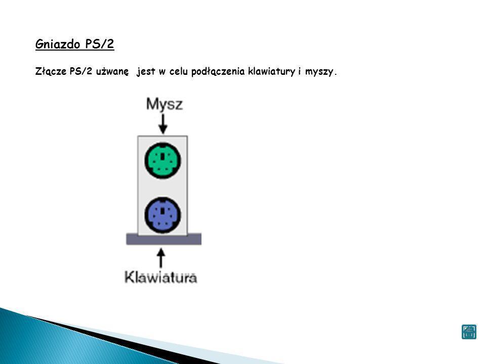 Gniazdo PS/2 Złącze PS/2 użwanę jest w celu podłączenia klawiatury i myszy.