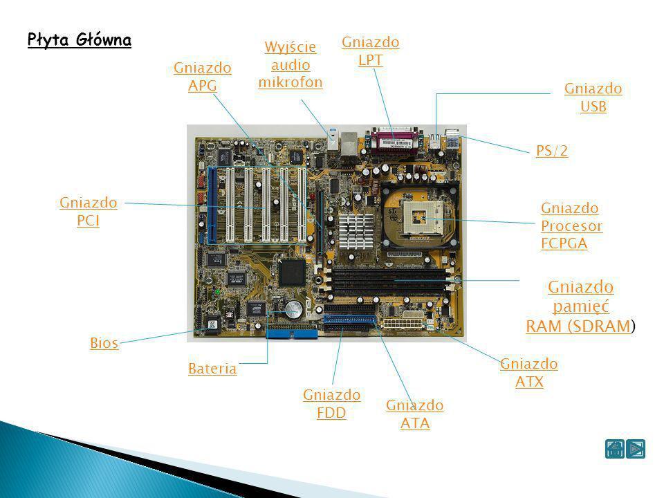 Płyta Główna Gniazdo pamięć RAM (SDRAM) Gniazdo LPT Wyjście audio