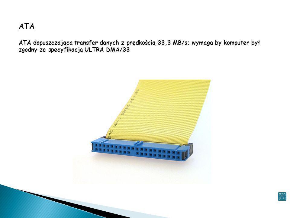 ATA ATA dopuszczająca transfer danych z prędkością 33,3 MB/s; wymaga by komputer był zgodny ze specyfikacją ULTRA DMA/33.