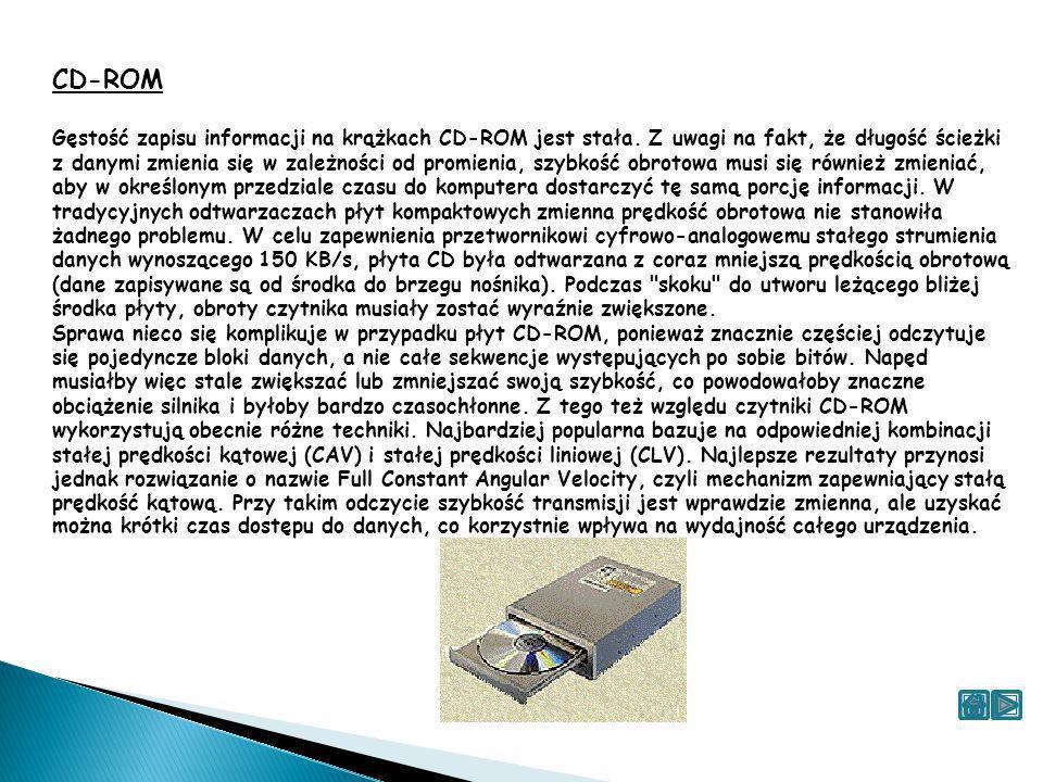 CD-ROM Gęstość zapisu informacji na krążkach CD-ROM jest stała