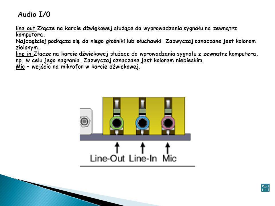 Audio I/0 line out Złącze na karcie dźwiękowej służące do wyprowadzania sygnału na zewnątrz komputera.