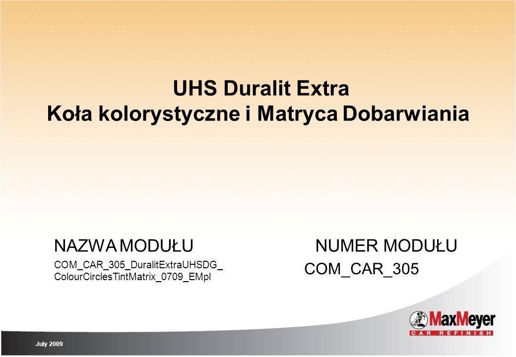 UHS Duralit Extra Koła kolorystyczne i Matryca Dobarwiania