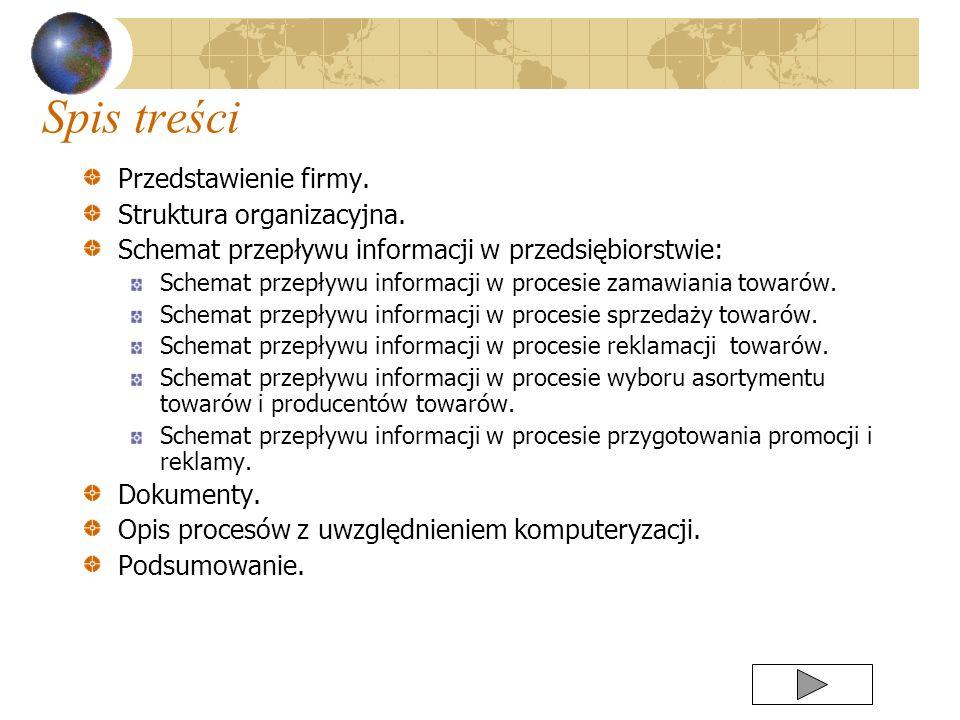 Spis treści Przedstawienie firmy. Struktura organizacyjna.