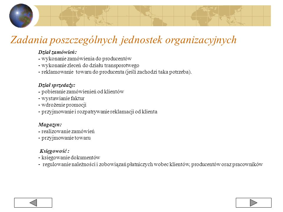 Zadania poszczególnych jednostek organizacyjnych
