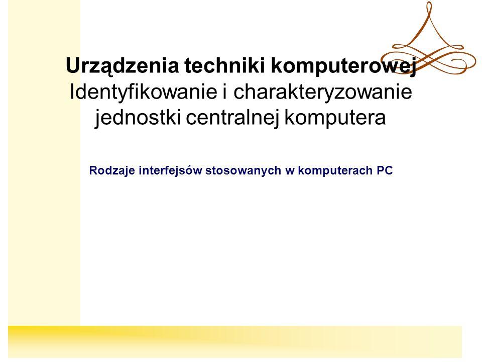 Rodzaje interfejsów stosowanych w komputerach PC