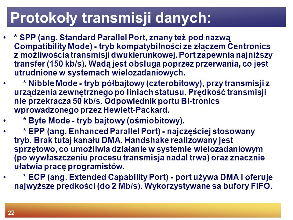 Protokoły transmisji danych: