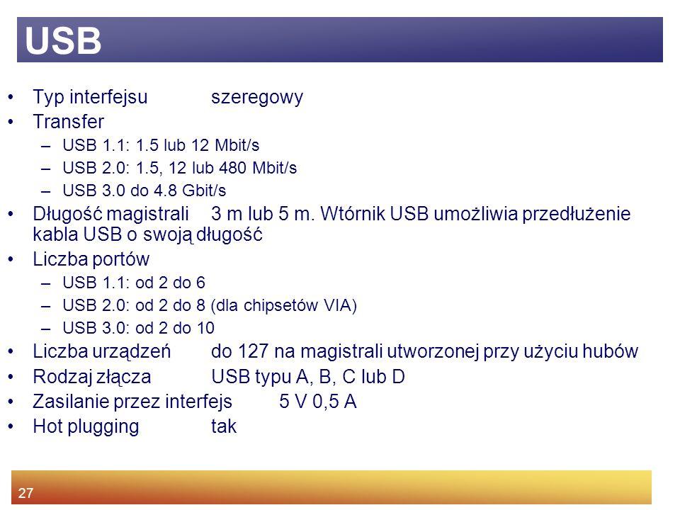 USB Typ interfejsu szeregowy Transfer
