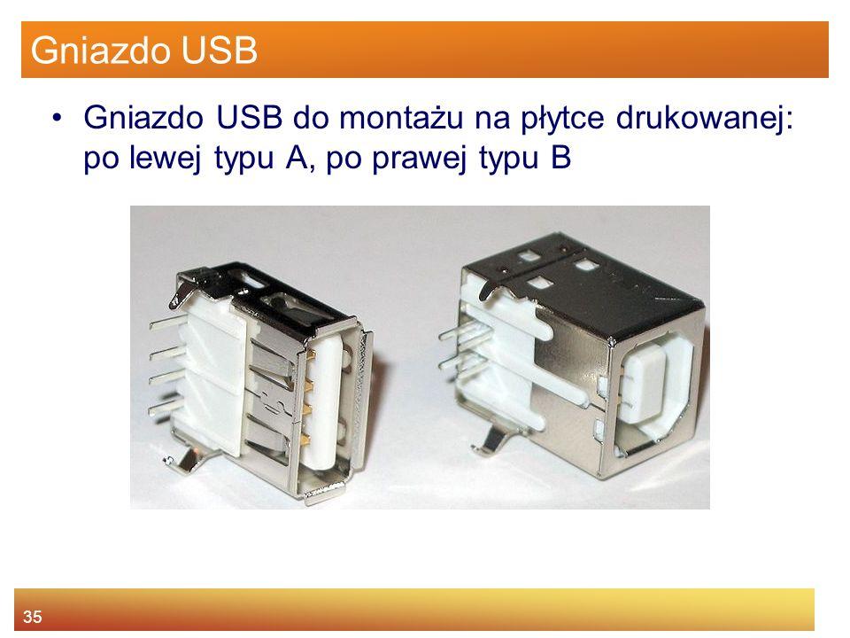 Gniazdo USB Gniazdo USB do montażu na płytce drukowanej: po lewej typu A, po prawej typu B