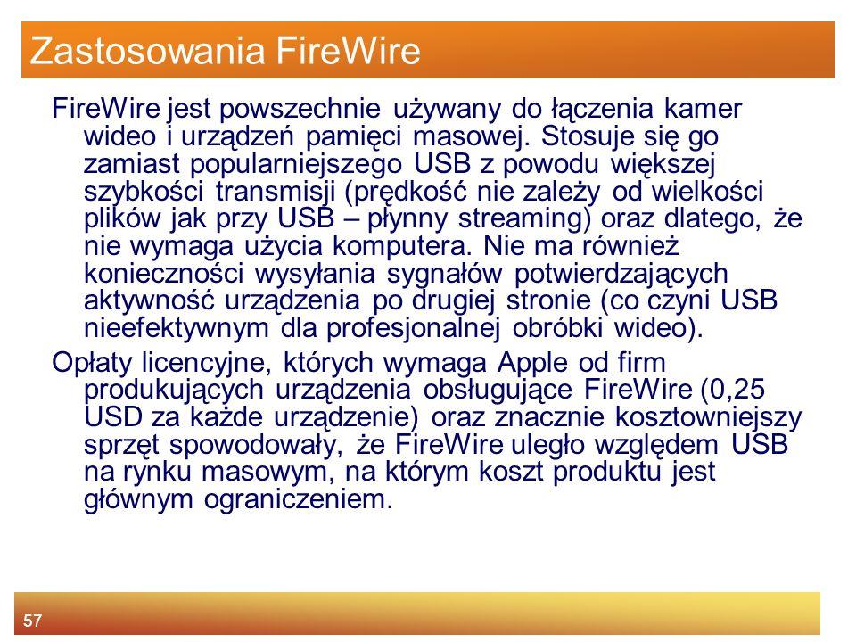 Zastosowania FireWire
